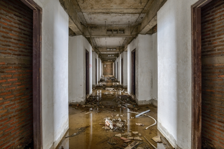 Abandoned buildings were flooded.