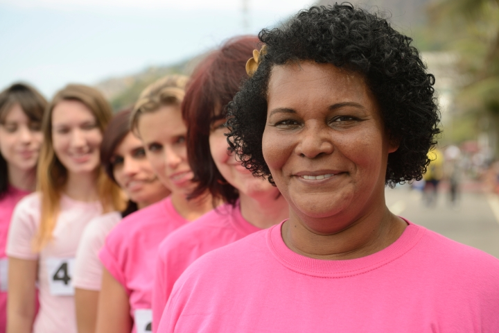 Breast cancer charity race, woman in pink.